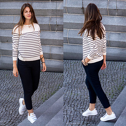 Jacky - Vila Sweater, Vila Pants, Adidas Sneakers - Stripes Sweater and Blue Pants