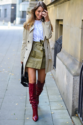Stephanie Van Klev - United Colors Of Benetton Trenchcoat, Zara Ruffle Shirt, Zara Skorts, Zara Red Boots, Balenciaga Bag - HELLO AUTUMN :: TRENCHCOAT & RED BOOTS