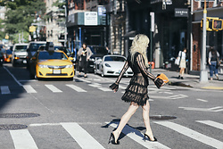 Rachel Lynch - Nasty Gal Ruffle Black Dress, Jimmy Choo Orange Fur Clutch, Black Fluffy Heel - Come and see me