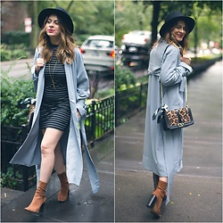 Fashionlingual, Desirée - Make Me Chic Duster Coat, Forever 21 Bodycon Dress, Jack + Lucy Wool Hat, Beltshazzar Jewels Necklace, Zara Booties, Rebecca Minkoff Love Bag, M.A.C Lip Palette - Duster Coat Weather