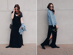 Taylor Smith - Urban Outfitters Slip Dress, Topshop Jean Jacket, Chloe Faye Bag, Gucci Loafers - Layers and Loafers