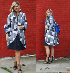 Jaclynn Brennan - Norma Kamali Patch Coat, Jerome C Rousseau Mixed Print Calf Hair Booties, Calvin Klein Plaid Skirt, French Connection Uk Blue Leather Backpack, Diamonds Unleashed For Serena Williams Multi Color Choker - PATCHWORK