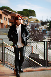 Philip Mak - Acne Studios Leather Shearling Jacket, H&M Sweater, Balmain Leather Biker Pants - Winter Breeze