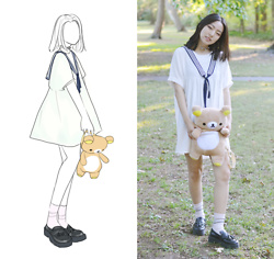 Yonish - Zaful Sailor Smock Dress, Ebay Rilakkuma Plush Backpack, Yesstyle Black Platform Tasseled Loafers - Sweet Sailor