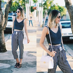 Glena Martins - Zaful Top, Zaful Pants, Cat Eyes Sunnies, Melissa Flox, Melissa Pupila - Black, White & Gray