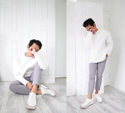 Karl Philip Leuterio - Asos Scuba Jumper, Uniqlo Tailored Trousers, Wittner Platform Derby - Fresh first