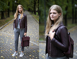 Margarita Lemeshko - Massimo Dutti Biker Jacket, 3.1 Phillip Lim Backpack - Static Age