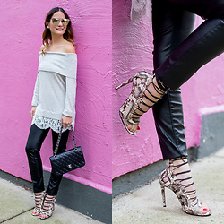 Jenn Lake - Nordstrom Grey Off Shoulder Sweater Lace Trim, Blanknyc Faux Leather Skinny Pants, Aquazzura Amazon Sandals, Chanel Quilted Flap Bag, Quay Chrisspy Gemini Sunglasses - Grey Off Shoulder Sweater Lace Trim