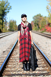 Anik L.R. - Zara Plaid Dress, Joe Fresh Leopard Scarf, Rudsak Leather Jacket, Ménage À Deux Dad Hat - Mad for plaid