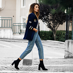 Melike Gül - Sheinside Blazer, Sheinside Striped Top, American Apparel Mom Jeans, Mango Boots - Patched Blazer