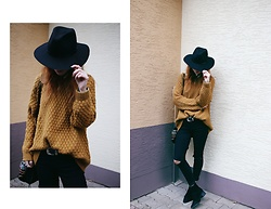 Patty . - Catarzi Hat, H&M Jumper, Gina Tricot Ripped Jeans, Asos Boots - CASUAL