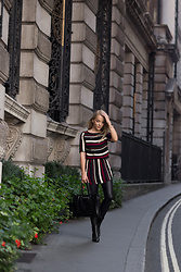 Silver Girl - Y.A.S Striped Dress, Giorgio Armani Tote Bag, Asos Leather Leggings, Massimo Dutti Ankle Boots - MAKE IT WORK