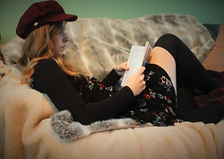 Amy Allatt - Forever 21 Burgendy Hat, Topshop Turtleneck, Pylo Floral Dress, Ebay Knee High Socks - Cozy Daze