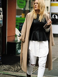 Laenoky - Adpt Coat, Zara Peplum Top, Dsquared2 Jeans - BEIGE TIME OF THE YEAR - THE CAMEL COAT