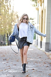 Sonja Kovac - Pull & Bear Oversize Patches Denim Jacket, Urban Outfitters Top, Zara Leather Skirt, Solewish Boots, Proenza Schouler Bag, Christian Dior Sunglasses - EARLY FALL IN ZAGREB