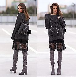 Perventina Ols - H&M Sweater, Solewhish Boots, Grafea Bag - Gray and bright
