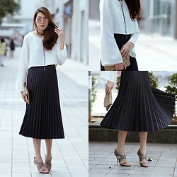 Kara C - Diane Von Furstenberg Sandals, Zara Pleated Skirt, Forever 21 Bell Top - Weekdays
