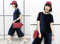 Samantha Mariko - Bershka Top, Bershka Culottes, Adidas Shoes, Moussy Cap, Metrocity Bag, Asos Choker - Pleated blue velvet