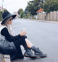 Joicy Muniz - H&M Hat, Second Female Vest, Urban Outfitters Dress, Sneaky Fox Socks, Urban Outfitters Dr. Martens - Autumn Mood