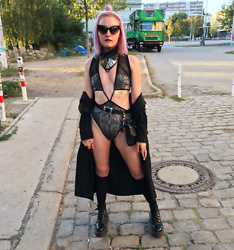 Tessla Venus - Therapy Recycle + Exorcise Leather Bandana, Dr. Martens Double Sole Docs, Coexist Fishnet Bodysuit - Berghain or Bust