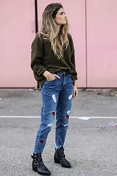 Marie And Mood - American Vintage Pull, Pull&Bear Jeans, Mango Boots - Denim embroidery