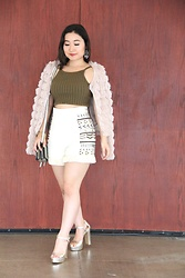Kristen Tanabe - Lark Fringe Jacket, Forever 21 Olive Crop Top, French Connection High Waisted Shorts, Topshop Gold Platform Heels, Sondra Roberts Crossbody Purse - Fluffy Fringe