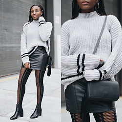 Nkenge Brown - Light In The Box, Nasty Gal Lace Up Tights, Zara Ankle Boots, Urban Outfitters Black Bag - Chunky Love