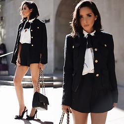 Maria De La Cruz - Haute & Rebellious Tweed Jacket, Chanel Double Flap Medium Quilted, Aldo Bow Heels - BOW TIE