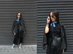 Diane Landers - Thrifted Vintage Sunglasses, Thrifted Blue Scarf, Thrifted Black T Shirt, Boohoo Fringe Bag, Converse Black & White Sneakers, Thrifted Black Jeans Jacket, H&M Black Wide Trousers - Black with Blue