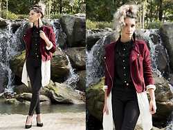 Wonderstyle - H&M Black Elegant Shirt, Pull & Bear Еthereal White Cardigan, Bershka Skinny Basics Dept Pants, Bershka Comfy Basic High Heels, Underground Oasis Handmade Earrings, Stradivarius Burgundy Suede Jacket - Elegant city walk