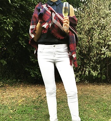 The Deep Style - Pimkie Blanket Scarf, H&M Shirt, Zara White Jeans - Blanket Scarf
