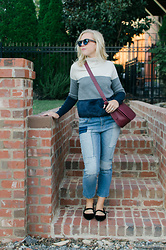 Taylor Reese - Jcrew Color Block Shearling Sweater, Bp Patchwork Jeans, A+ Velvet Mary Jane Flats, Coach Saddle Bag - COLOR BLOCK SWEATER & PATCHWORK DENIM