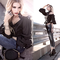 Dora D. - Black Wrap Blouse, Ripped Jeans, Shoes With Bow - Difficult roads often lead to beautiful destinations
