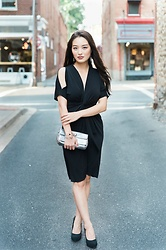 Kimberly Kong - Catherine Malandrino Draped Black Dress, Coach Silver Clutch, Trollbeads Bangles - My Favorite LBD