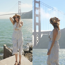 Mackenzie S - Madewell Striped Culotte Jumpsuit, Saltwater Sandals, Forever 21 Straw Hat - Golden gates and culottes