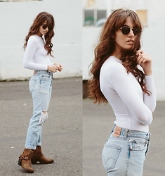 Tonya S. - American Apparel Bodysuit, Vintage Levis, Ariat Boots - Ripped Denim