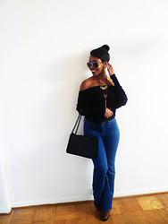 Abigail Lee - Aldo Matte Black Chain Crossbody, Justfab High Waist Braided Flare Jeans - Casual Friday