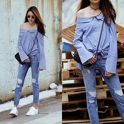 Kara C - Zara Off Shoulder Poplin, Zara Ripped Jeans, Adidas White Sneakers - Just Right