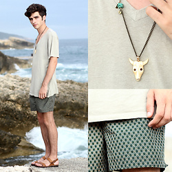"Matthias C. - Robinson Les Bains Shorts, Agnès B Necklace, Surface To Air T Shirt - ""Ulcinj"""