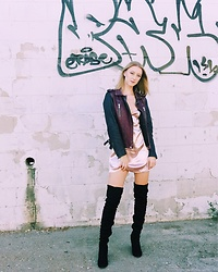 Katie Van Daalen Wetters - Iro Leather Jacket, Princess Polly Boutique Pink Slip Dress, Cape Robbin Black Thigh High Boots - Layering a Slip Dress