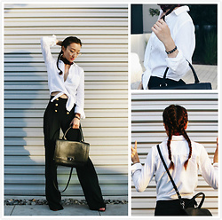 Qianwen Chen - Givenchy Medium Shark Bag, Madewell Shirt, Madewell Sailor Pants - Nerd Chic