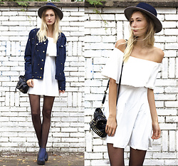 Eva Velt - Girlmerry Dress, Studded Jacket, Hat, Bag, Blue Heels - Rigorous