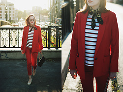 Andreea Birsan - Vintage Scarf, Beige Suede Pumps, Striped Top, Red Blazer, Red Pants, Mirrored Sunglasses, Quilted Crossbody Bag - Red pants & blazer: How to obtain the Parisian chic look