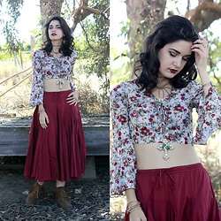 Lexi L - Floral Bell Sleeve, Lux Maroon Skirt, Fringe Ankle Boots, Pearl/ Turquoise Necklace, Boho Betty Faux Suede Wrap Bracelet - My Finest Hour