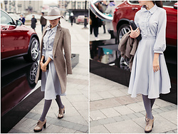 Katerina Lozovaya - Likemammy Dress, Zara Coat, H&M Hat - MBFWRussia. Day 1.