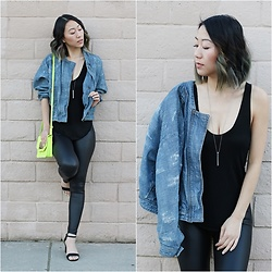 Amy Lai - Free People Denim Jacket, H&M Neon Bag, Nordstrom Rack Faux Leather Leggings, Nordstrom Rack Heels - It's Electrifying!