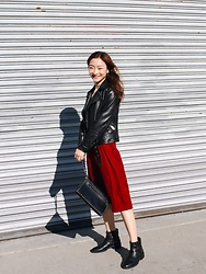 Qianwen Chen - Allsaints Biker Jacket, Valentino The Rockstud Leather Clutch, Nugowest Studded Booties, Zara Velvet Dress - Velvet and Leather