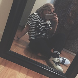 Nina Kristine - Cheap Monday Stripes, Ftroupe Kicks, Urban Outfitters Denim - B&W