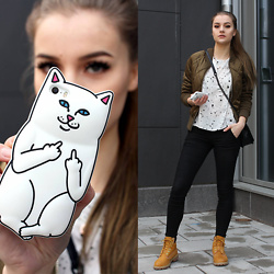 Linda R - Bomber Jacket, Timberlands - Kitty Cat