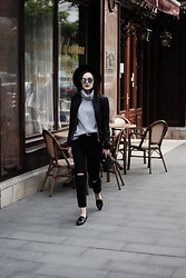 Andreea Birsan - Black Fedora Hat, Pointy Toe Loafers, Black Distressed Mom Jeans, Grey Wool Turtleneck Sweater, Leather Belt, Genuine Leather Bomber Jacket, Mirrored Sunglasses, Leather Crossbody Bag - The best leather jacket trend for fall 2016